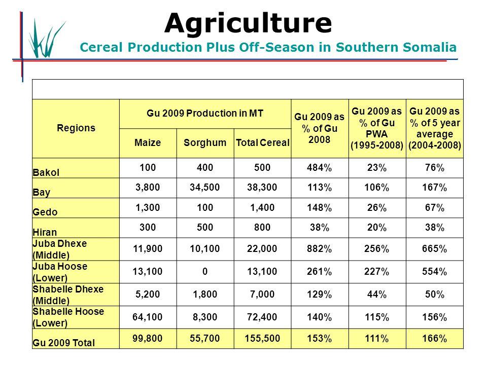 Agriculture Cereal Production Plus Off-Season in Southern Somalia Regions Gu 2009 Production in MT Gu 2009 as % of Gu 2008 Gu 2009 as % of Gu PWA (1995-2008) Gu 2009 as % of 5 year average (2004-2008) MaizeSorghumTotal Cereal Bakol 100400500484%23%76% Bay 3,80034,50038,300113%106%167% Gedo 1,3001001,400148%26%67% Hiran 30050080038%20%38% Juba Dhexe (Middle) 11,90010,10022,000882%256%665% Juba Hoose (Lower) 13,1000 261%227%554% Shabelle Dhexe (Middle) 5,2001,8007,000129%44%50% Shabelle Hoose (Lower) 64,1008,30072,400140%115%156% Gu 2009 Total 99,80055,700155,500153%111%166%