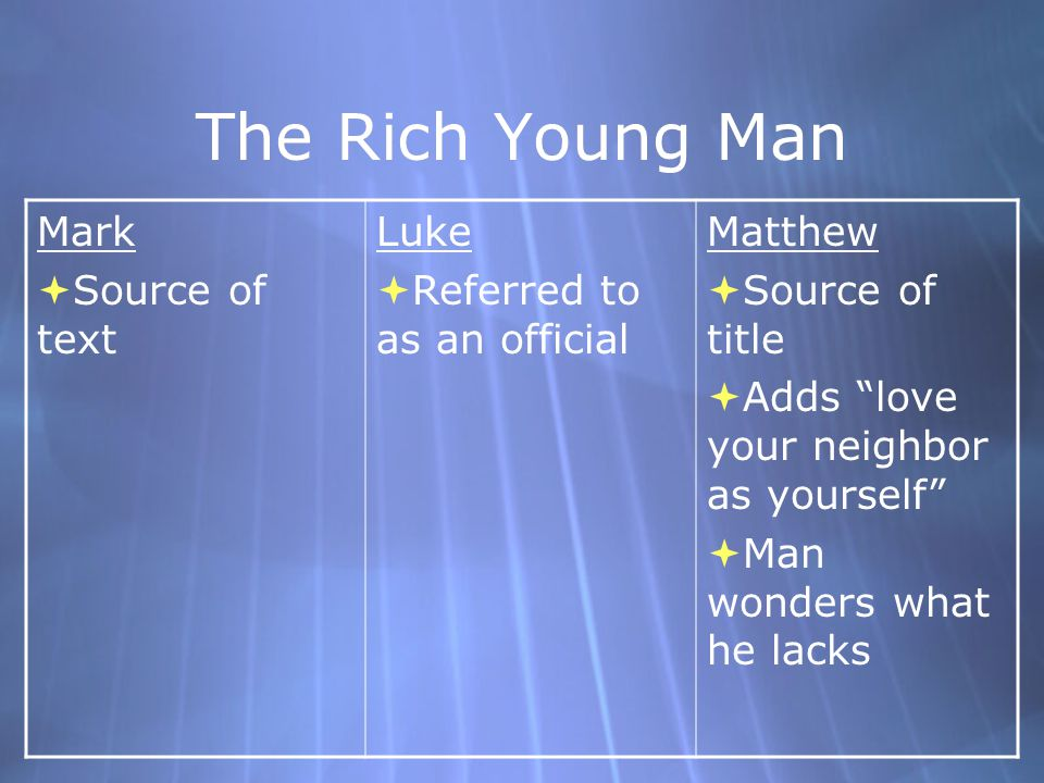 Meaning of the Rich Young Man  The Rich must use their power and wealth to help others who are not so lucky  Must give up all to rely on God, not on mammon (money)  Jesus is not saying that having money is wrong  Everyone who seeks salvation must give up what stands in their way  The Rich must use their power and wealth to help others who are not so lucky  Must give up all to rely on God, not on mammon (money)  Jesus is not saying that having money is wrong  Everyone who seeks salvation must give up what stands in their way