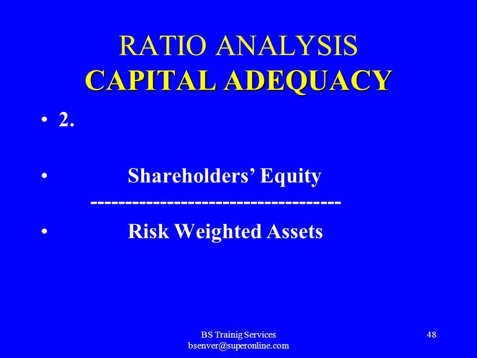 BS Trainig Services bsenver@superonline.com 47 CAPITAL ADEQUACY RATIO ANALYSIS CAPITAL ADEQUACY 1. Shareholders' Equity ------------------------------