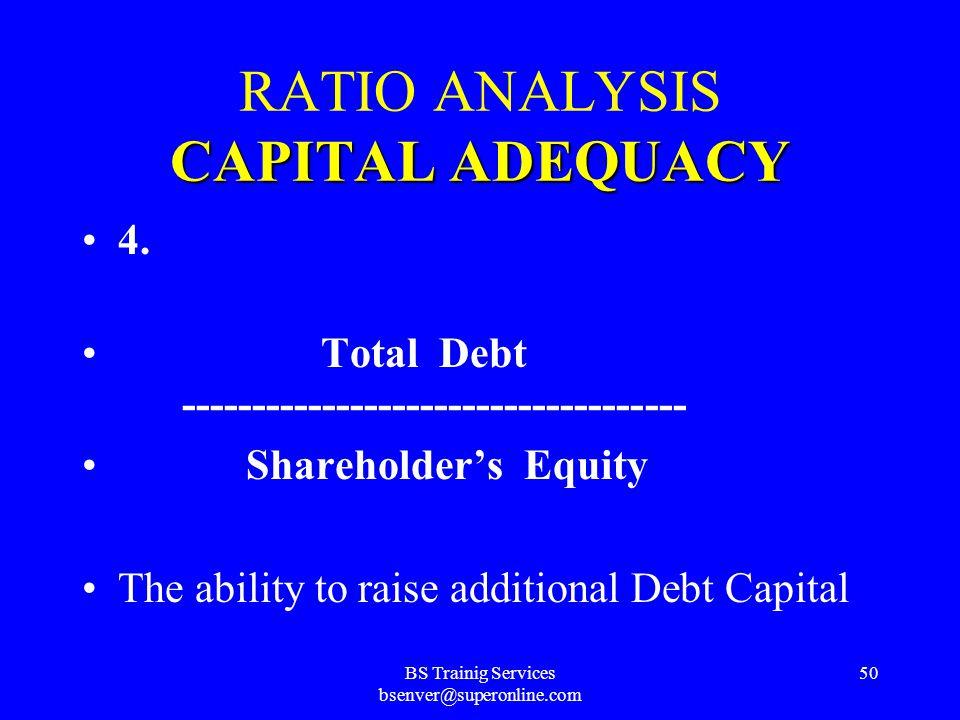 BS Trainig Services bsenver@superonline.com 49 CAPITAL ADEQUACY RATIO ANALYSIS CAPITAL ADEQUACY 3. Shareholders' Equity ------------------------------