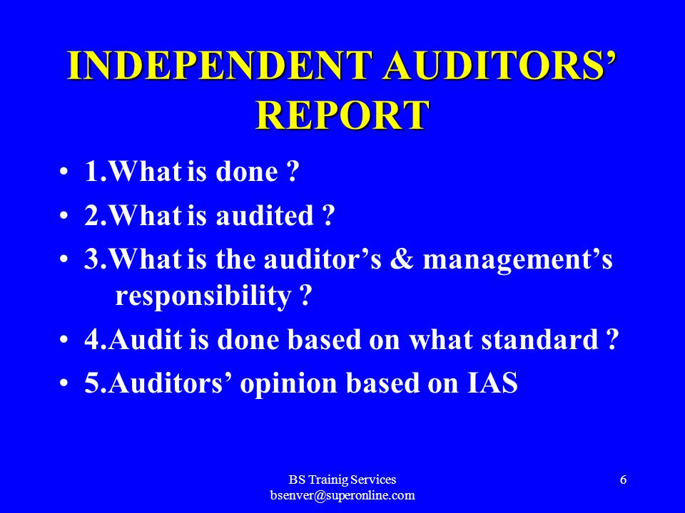 BS Trainig Services bsenver@superonline.com 5 AUDITOR'S REPORT INDEPENDENT AUDITOR'S REPORT