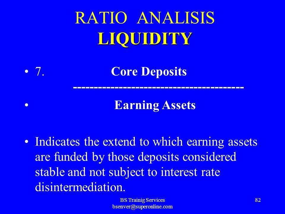 BS Trainig Services bsenver@superonline.com 81 LIQUIDITY RATIO ANALISIS LIQUIDITY 6. Liquid Assets ----------------------------------------- Large Lia