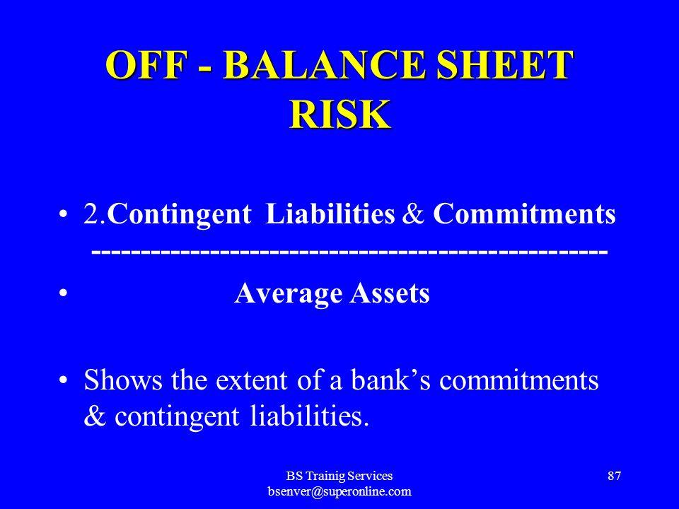 BS Trainig Services bsenver@superonline.com 86 OFF - BALANCE SHEET RISK 1. Loan Commitments ----------------------------------------- Average Assets S