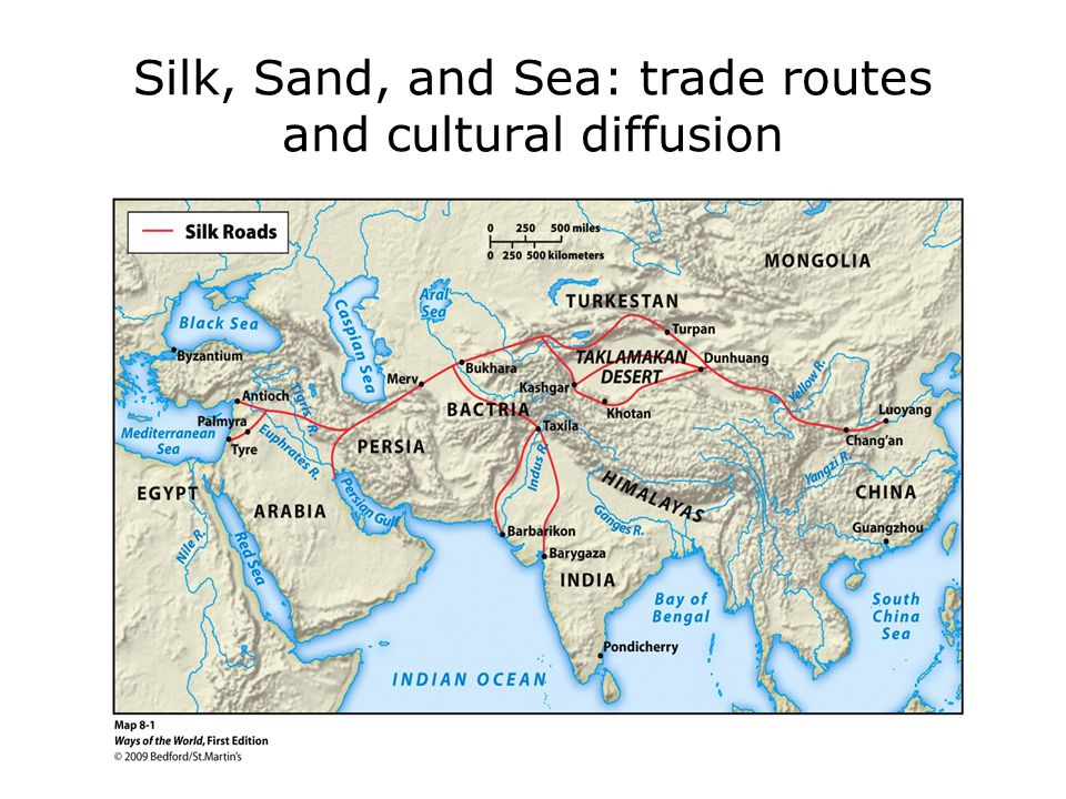 Sea routes: Exchange across the Indian Ocean Already some trading during Indus Valley period Egyptians and Phoenicians traded along the Red Sea Chinese merchants reached India 100 CE Fulcrum was India: along with trade, spread Buddhism and Hinduism in Southeast Asia.