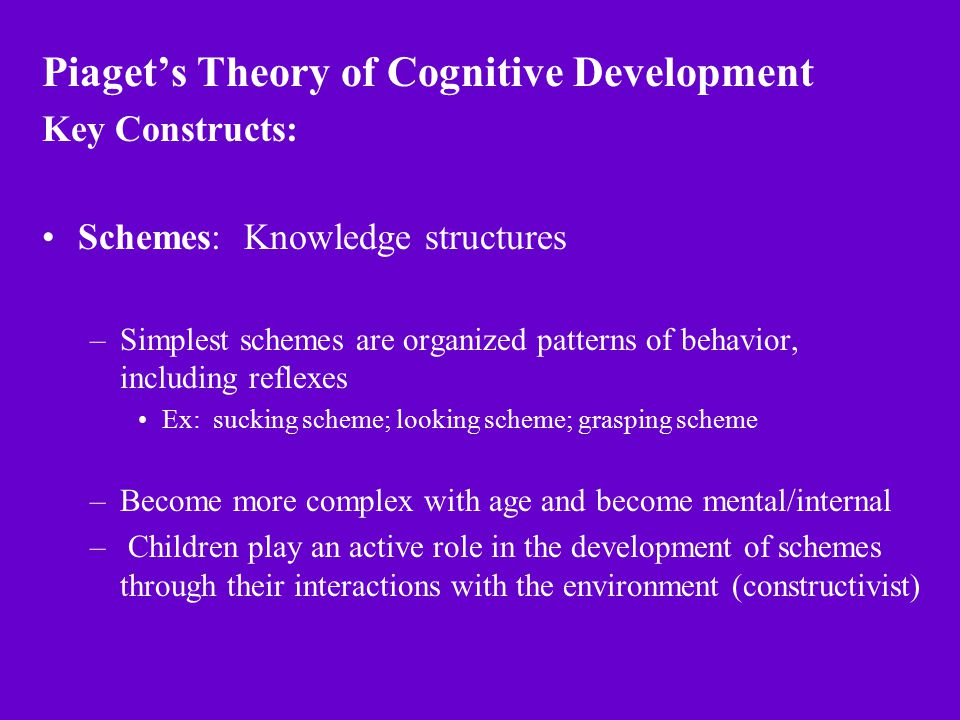 Piaget's Theory of Cognitive Development Key Constructs: Schemes: Knowledge structures –Simplest schemes are organized patterns of behavior, including reflexes Ex: sucking scheme; looking scheme; grasping scheme –Become more complex with age and become mental/internal – Children play an active role in the development of schemes through their interactions with the environment (constructivist)