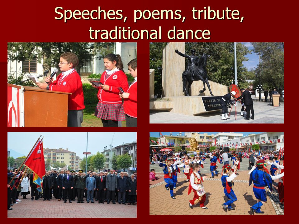 Speeches, poems, tribute, traditional dance