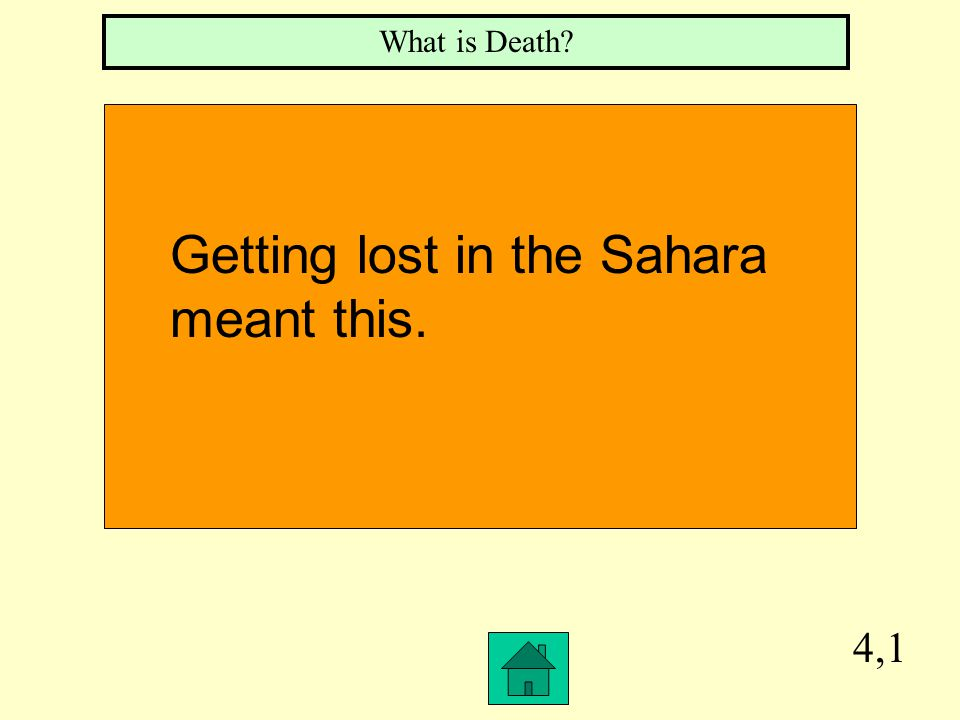 3,1 What is the Death Road The name of the Trade Route across the Sahara Desert.