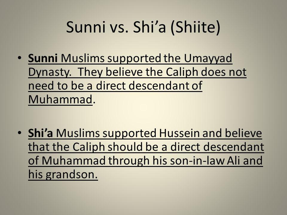 Sunni vs.Shi'a (Shiite) Sunni Muslims supported the Umayyad Dynasty.