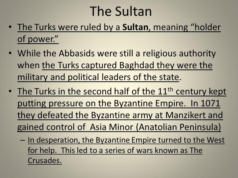 The Sultan The Turks were ruled by a Sultan, meaning holder of power. While the Abbasids were still a religious authority when the Turks captured Baghdad they were the military and political leaders of the state.