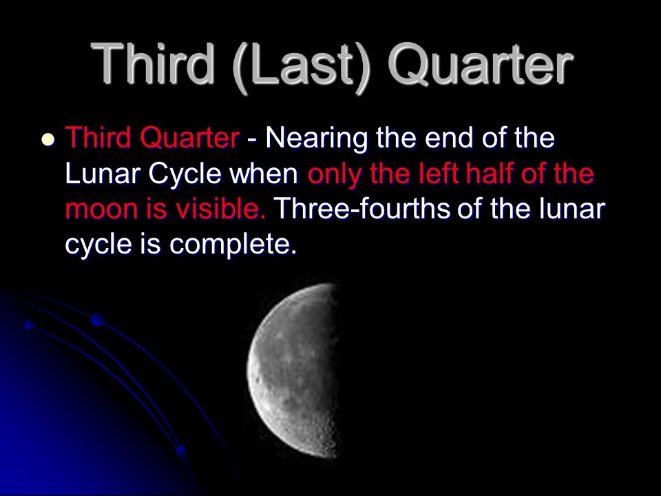 Third (Last) Quarter Third Quarter - Nearing the end of the Lunar Cycle when only the left half of the moon is visible. Three-fourths of the lunar cyc
