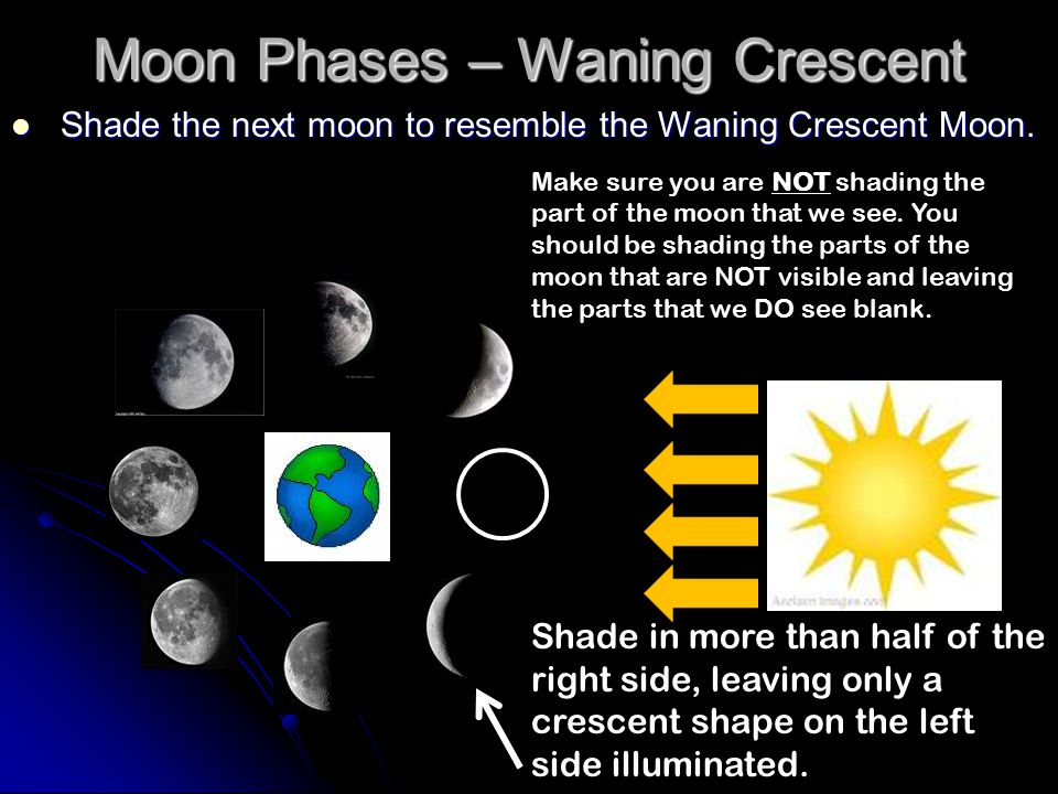 Moon Phases – Waning Crescent Shade the next moon to resemble the Waning Crescent Moon. Shade the next moon to resemble the Waning Crescent Moon. Shad