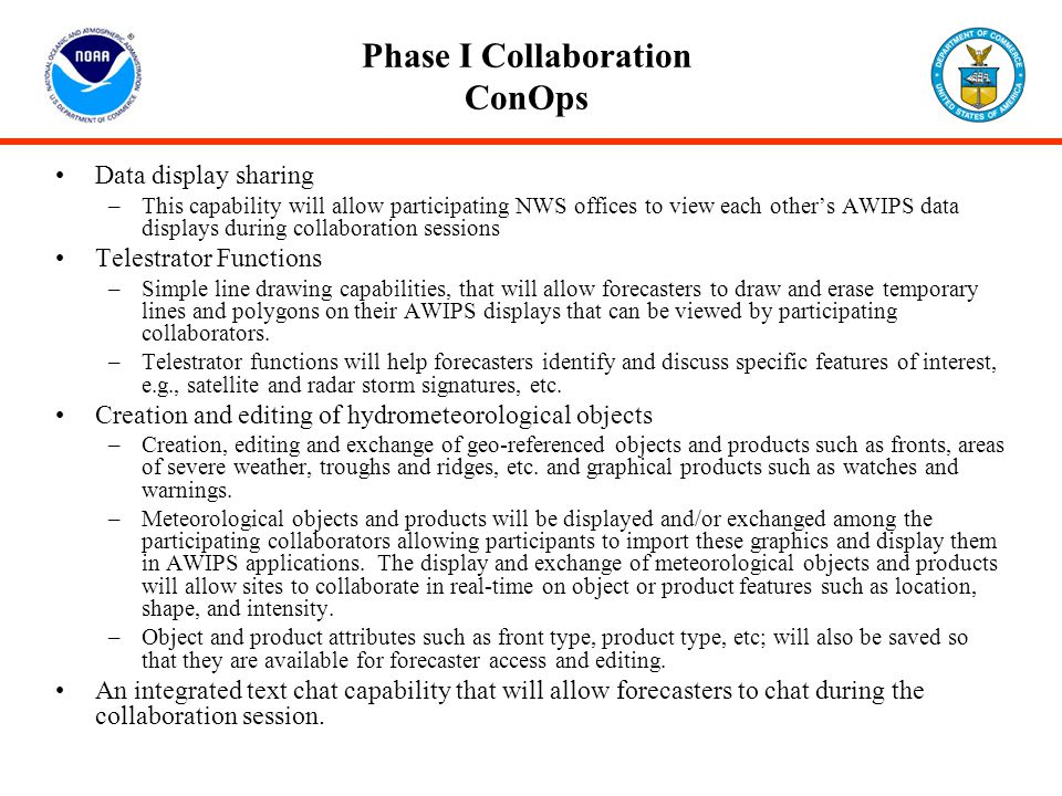 Phase I Collaboration ConOps Data display sharing –This capability will allow participating NWS offices to view each other's AWIPS data displays durin