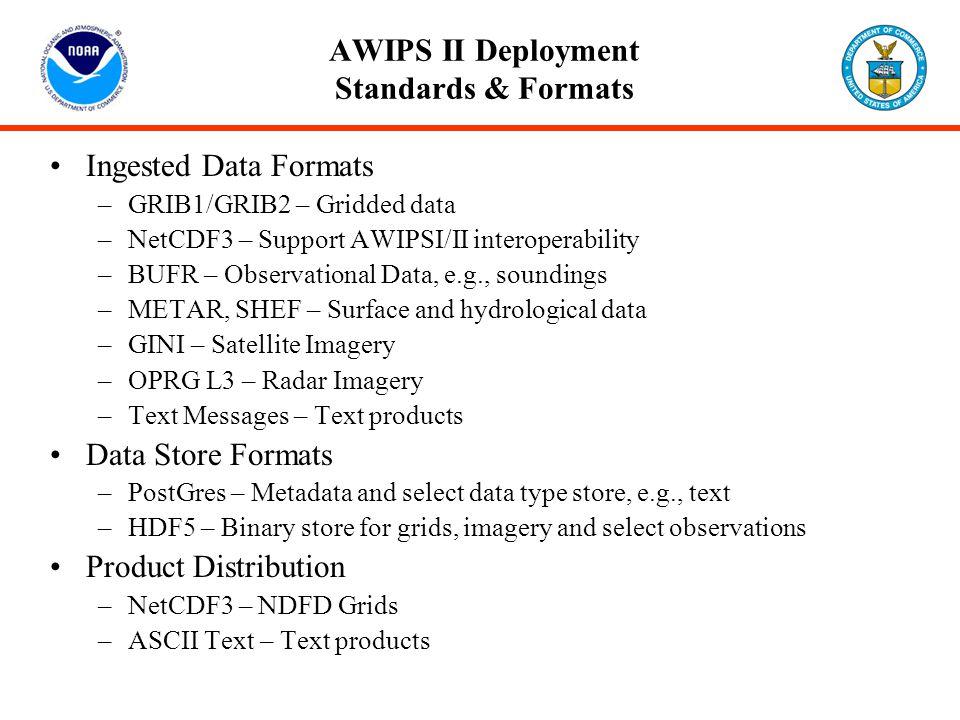 AWIPS II Deployment Standards & Formats Ingested Data Formats –GRIB1/GRIB2 – Gridded data –NetCDF3 – Support AWIPSI/II interoperability –BUFR – Observ