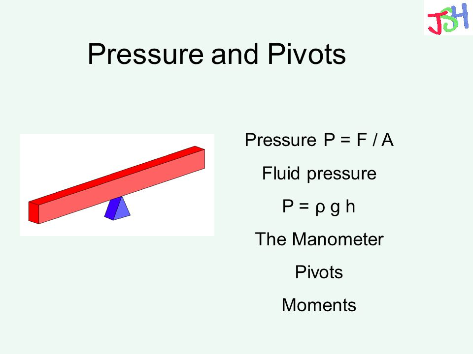 Pressure and Pivots Pressure P = F / A Fluid pressure P = ρ g h The Manometer Pivots Moments
