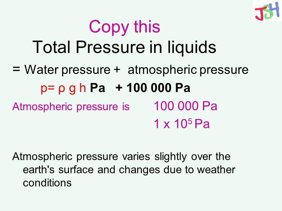 Copy this Total Pressure in liquids = Water pressure + atmospheric pressure p= ρ g h Pa + 100 000 Pa Atmospheric pressure is 100 000 Pa 1 x 10 5 Pa At