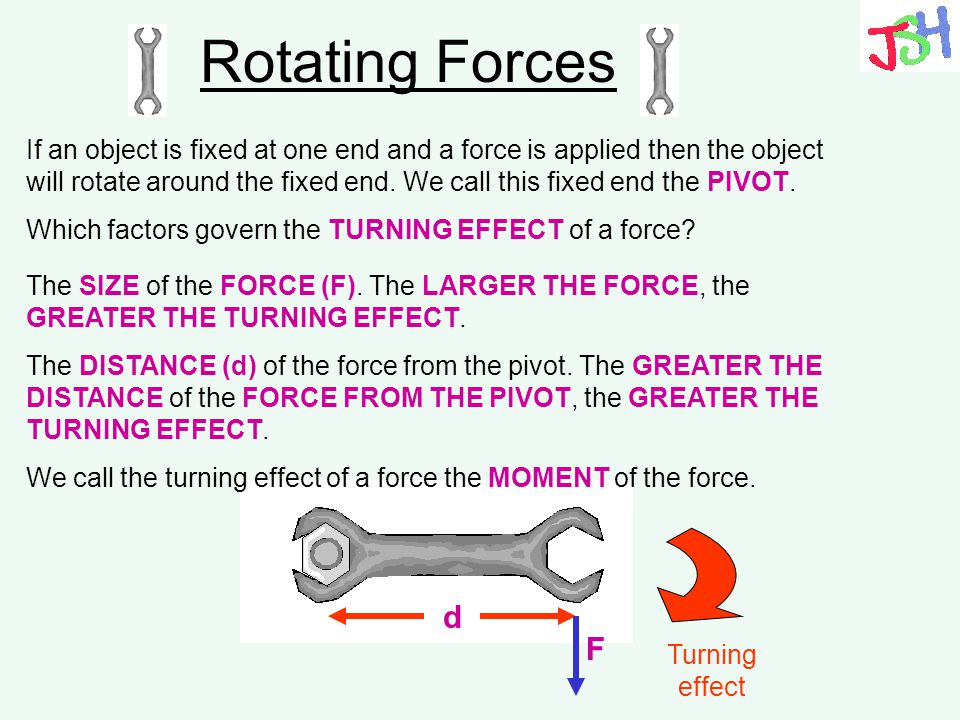 Rotating Forces The DISTANCE (d) of the force from the pivot. The GREATER THE DISTANCE of the FORCE FROM THE PIVOT, the GREATER THE TURNING EFFECT. Wh