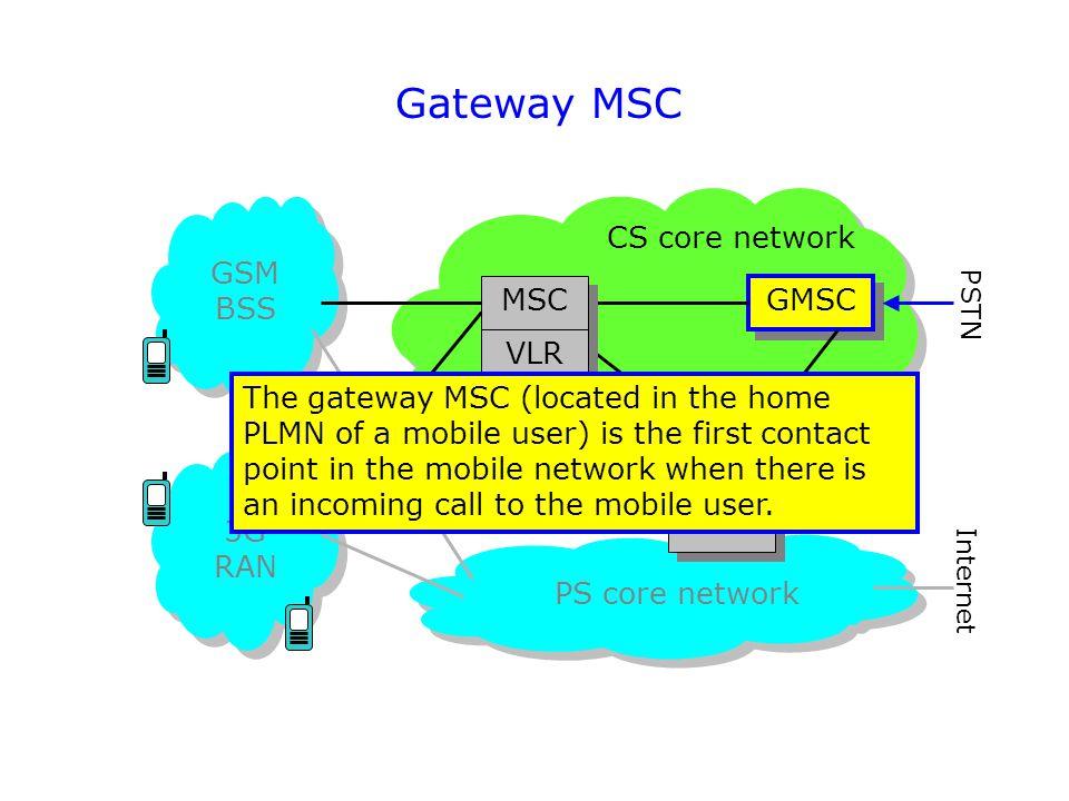 Gateway MSC GSM BSS 3G RAN PS core network CS core network GMSC HLR AuC EIR PSTN Internet MSC VLR The gateway MSC (located in the home PLMN of a mobil