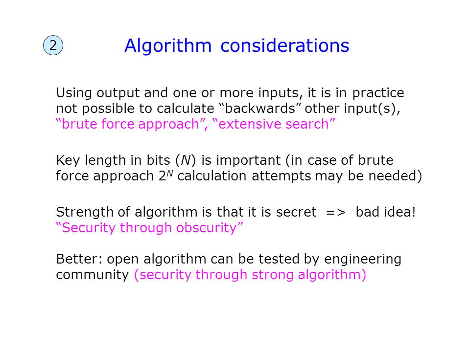 """Using output and one or more inputs, it is in practice not possible to calculate """"backwards"""" other input(s), """"brute force approach"""", """"extensive search"""