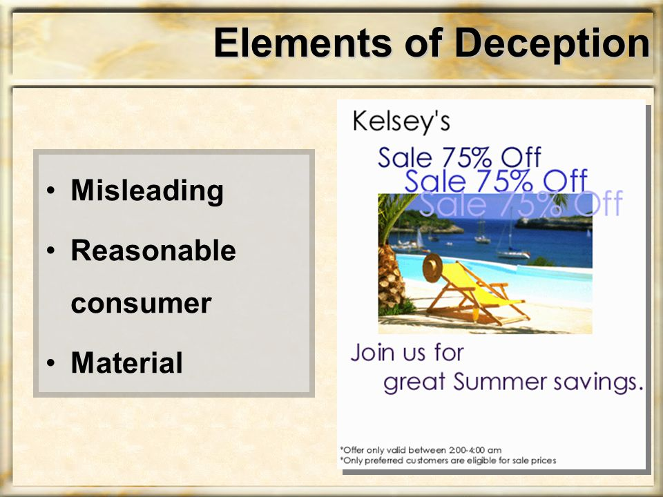 Elements of Deception Misleading Reasonable consumer Material