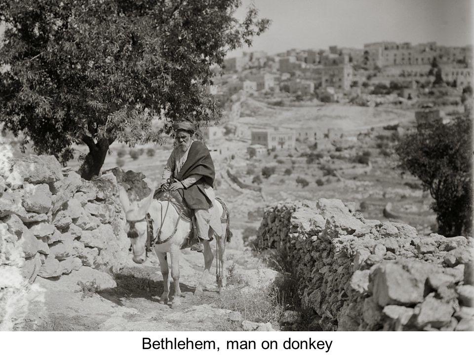 Bethlehem, shepherds and flocks in foreground