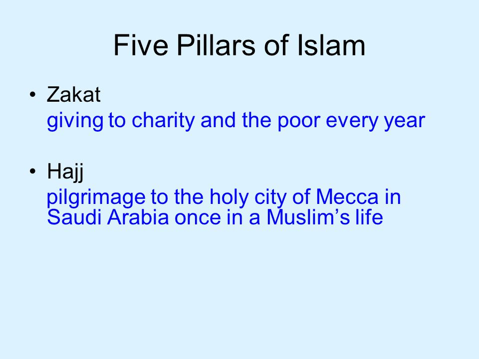 Five Pillars of Islam Zakat giving to charity and the poor every year Hajj pilgrimage to the holy city of Mecca in Saudi Arabia once in a Muslim's life