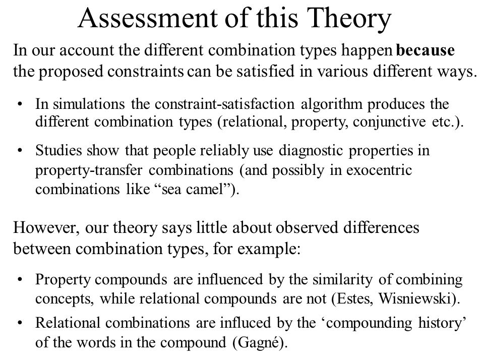 Assessment of this Theory In our account the different combination types happen because the proposed constraints can be satisfied in various different ways.