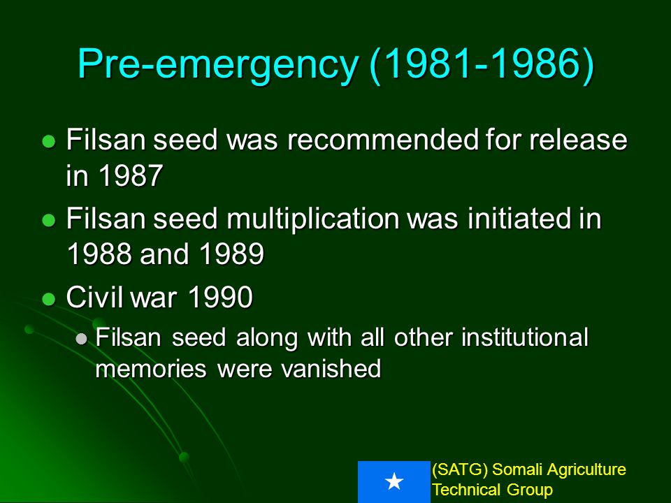 (SATG) Somali Agriculture Technical Group Pre-emergency (1981-1986) 1000 Seed wt.Yield (kg/ha)