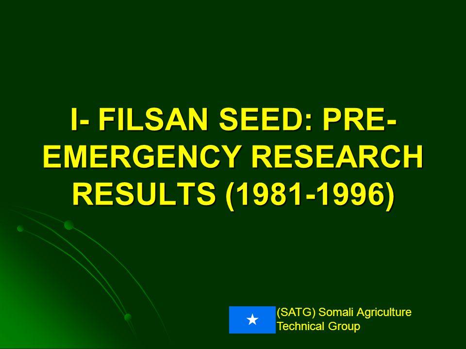 (SATG) Somali Agriculture Technical Group Pre-emergency: Response to P bb b a a Grain Yield (kg/ha) 58% 91% N+P = 50N + 17.5P; N+P = 100N + 35P Gu1986-Sorghum