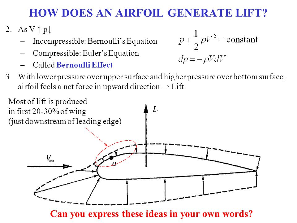 HOW DOES AN AIRFOIL GENERATE LIFT? 2.As V ↑ p↓ –Incompressible: Bernoulli's Equation –Compressible: Euler's Equation –Called Bernoulli Effect 3.With l