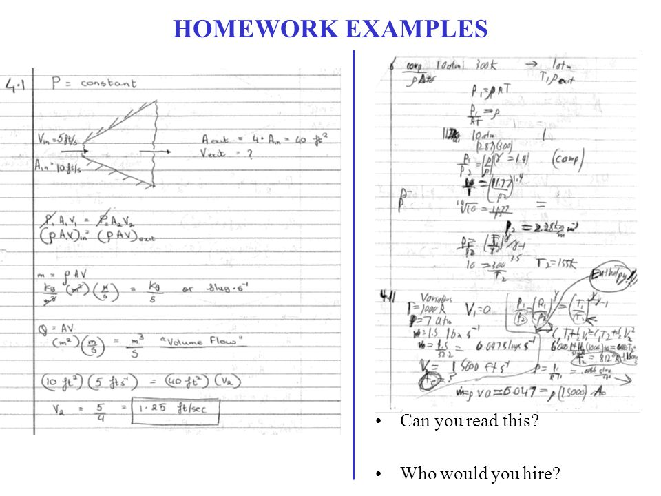 HOMEWORK EXAMPLES Can you read this? Who would you hire?