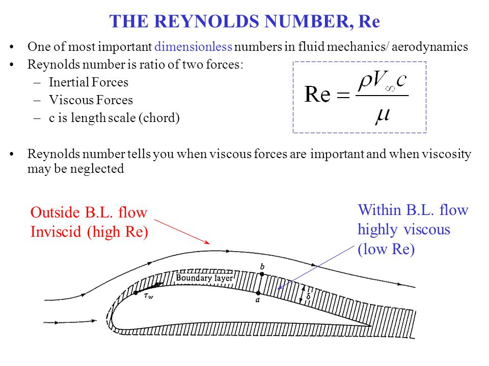 THE REYNOLDS NUMBER, Re One of most important dimensionless numbers in fluid mechanics/ aerodynamics Reynolds number is ratio of two forces: –Inertial