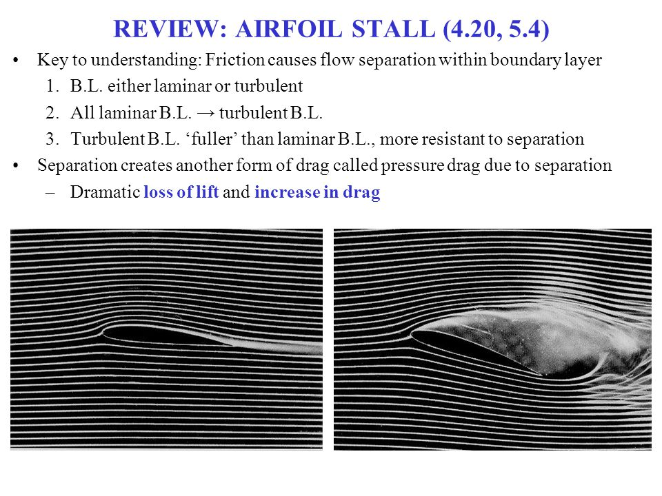 REVIEW: AIRFOIL STALL (4.20, 5.4) Key to understanding: Friction causes flow separation within boundary layer 1.B.L. either laminar or turbulent 2.All