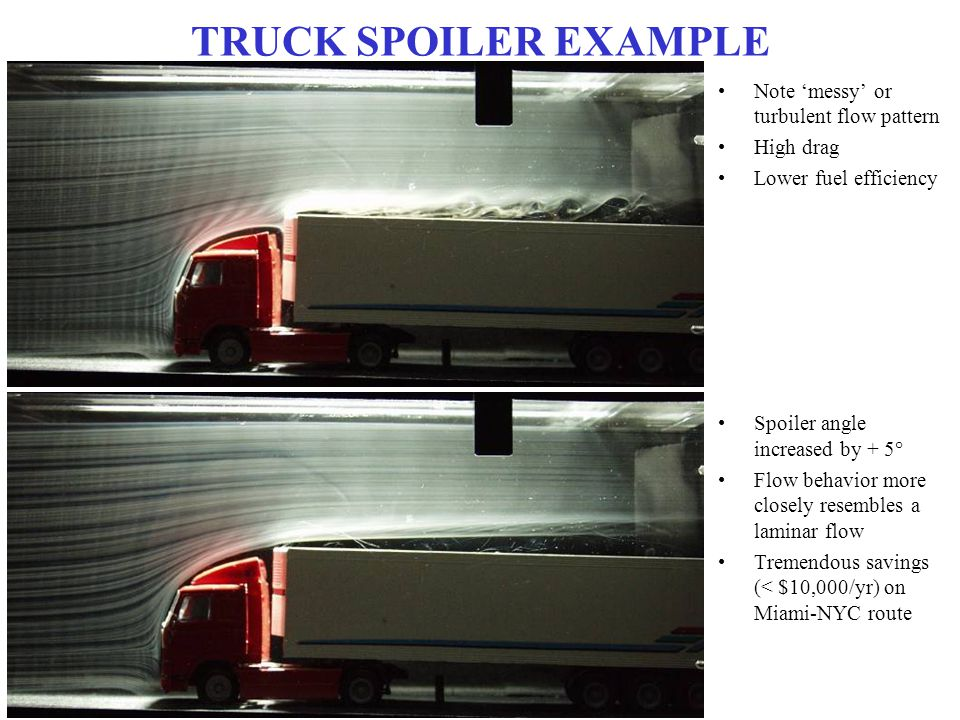 TRUCK SPOILER EXAMPLE Note 'messy' or turbulent flow pattern High drag Lower fuel efficiency Spoiler angle increased by + 5° Flow behavior more closel