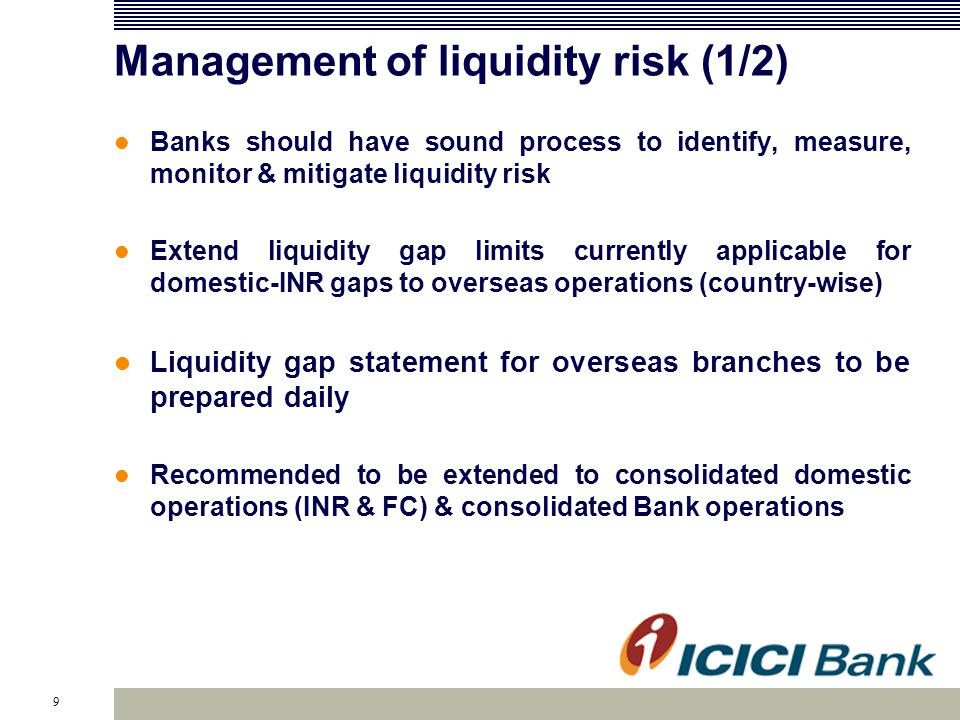10 Management of liquidity risk (2/2) Short-term dynamic liquidity gap statement to be extended to overseas branch operations (jurisdiction wise and overall) Assumptions used in cash flow projections should be transparent to the Board/Risk Committee and reviewed periodically Set of illustrative liquidity ratios provided for domestic operations and also for major currencies viz.