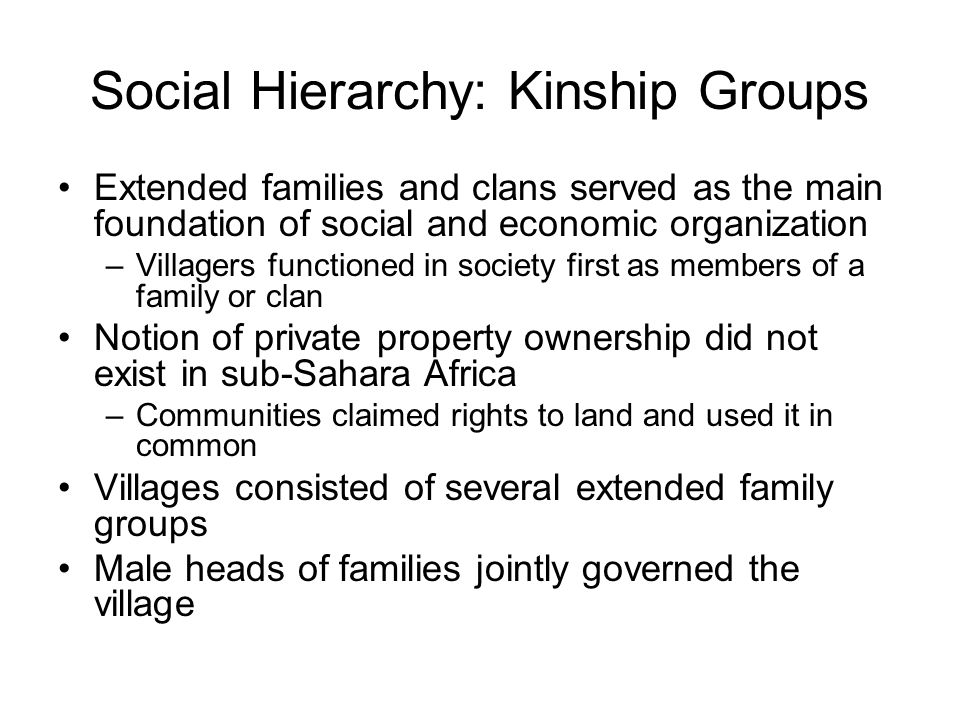 Social Hierarchy: Kinship Groups Extended families and clans served as the main foundation of social and economic organization –Villagers functioned in society first as members of a family or clan Notion of private property ownership did not exist in sub-Sahara Africa –Communities claimed rights to land and used it in common Villages consisted of several extended family groups Male heads of families jointly governed the village