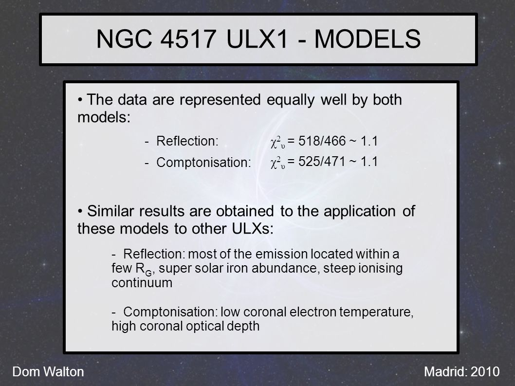 NGC 4517 ULX1 - MODELS Dom WaltonMadrid: 2010 The data are represented equally well by both models: Similar results are obtained to the application of these models to other ULXs: - Reflection: - Comptonisation: χ 2 υ = 518/466 ~ 1.1 χ 2 υ = 525/471 ~ 1.1 - Reflection: most of the emission located within a few R G, super solar iron abundance, steep ionising continuum - Comptonisation: low coronal electron temperature, high coronal optical depth
