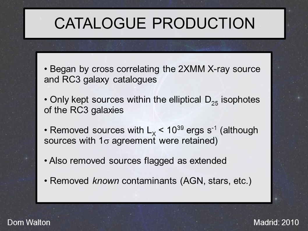 CATALOGUE PRODUCTION Dom WaltonMadrid: 2010 Began by cross correlating the 2XMM X-ray source and RC3 galaxy catalogues Only kept sources within the elliptical D 25 isophotes of the RC3 galaxies Removed sources with L X < 10 39 ergs s -1 (although sources with 1  agreement were retained) Also removed sources flagged as extended Removed known contaminants (AGN, stars, etc.)