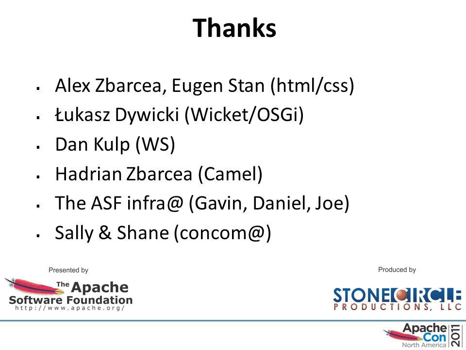 Thanks  Alex Zbarcea, Eugen Stan (html/css)  Łukasz Dywicki (Wicket/OSGi)  Dan Kulp (WS)  Hadrian Zbarcea (Camel)  The ASF infra@ (Gavin, Daniel, Joe)  Sally & Shane (concom@)