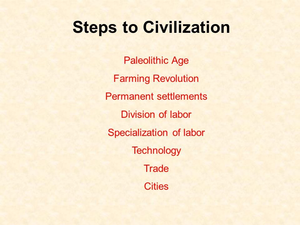 Steps to Civilization Paleolithic Age Farming Revolution Permanent settlements Division of labor Specialization of labor Technology Trade Cities