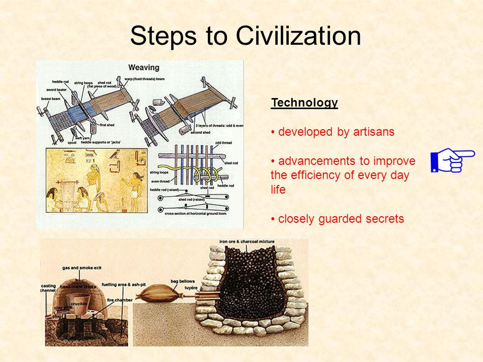 Steps to Civilization Technology developed by artisans advancements to improve the efficiency of every day life closely guarded secrets