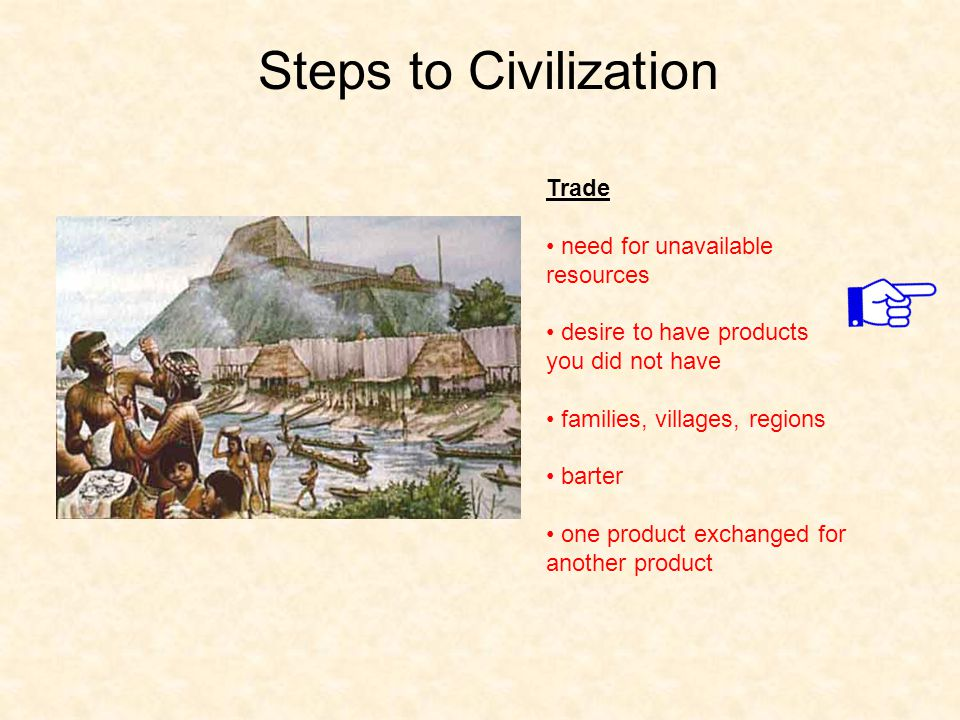 Steps to Civilization Trade need for unavailable resources desire to have products you did not have families, villages, regions barter one product exc