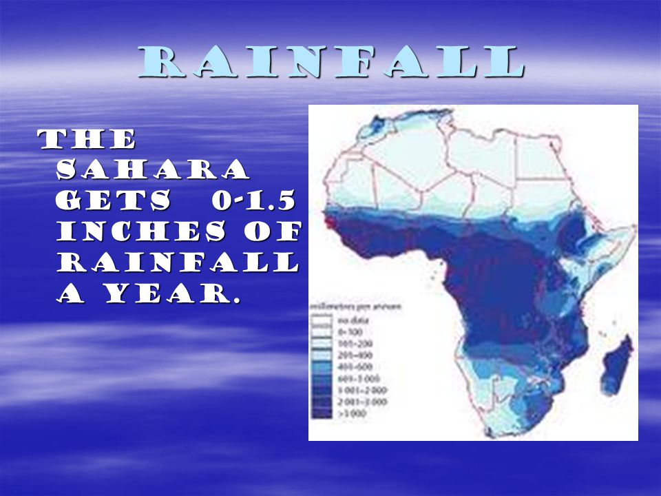 Rainfall the sahara gets 0-1.5 inches of rainfall a year.