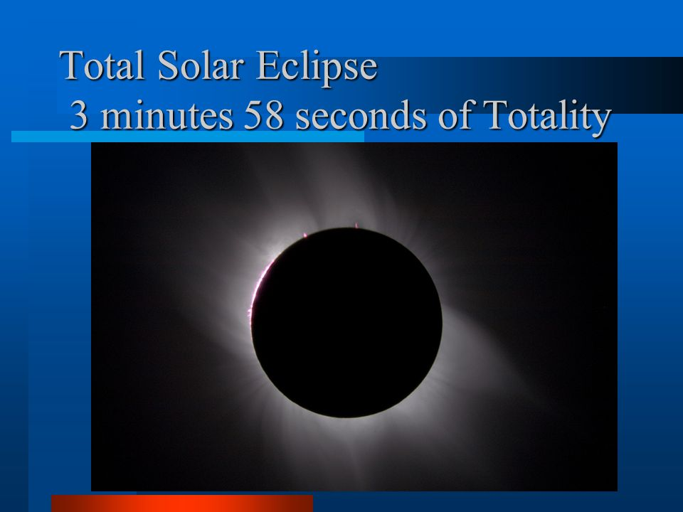 Total Solar Eclipse 3 minutes 58 seconds of Totality