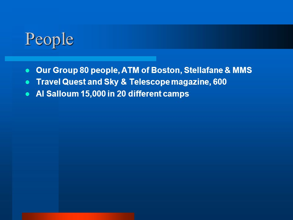 People Our Group 80 people, ATM of Boston, Stellafane & MMS Travel Quest and Sky & Telescope magazine, 600 Al Salloum 15,000 in 20 different camps