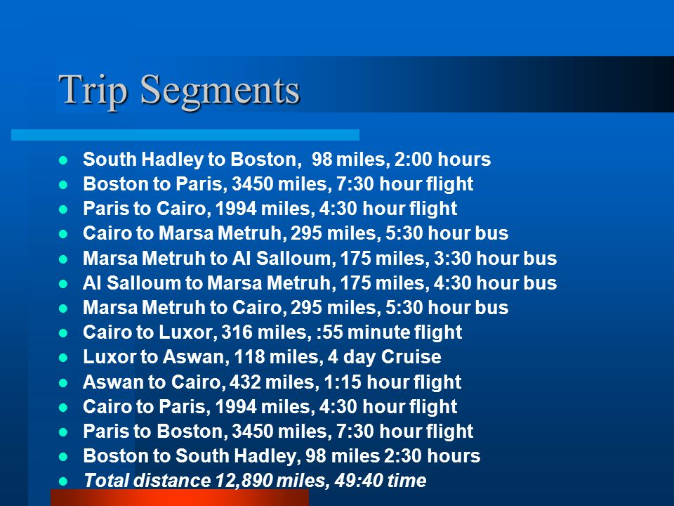 Trip Segments South Hadley to Boston, 98 miles, 2:00 hours Boston to Paris, 3450 miles, 7:30 hour flight Paris to Cairo, 1994 miles, 4:30 hour flight Cairo to Marsa Metruh, 295 miles, 5:30 hour bus Marsa Metruh to Al Salloum, 175 miles, 3:30 hour bus Al Salloum to Marsa Metruh, 175 miles, 4:30 hour bus Marsa Metruh to Cairo, 295 miles, 5:30 hour bus Cairo to Luxor, 316 miles, :55 minute flight Luxor to Aswan, 118 miles, 4 day Cruise Aswan to Cairo, 432 miles, 1:15 hour flight Cairo to Paris, 1994 miles, 4:30 hour flight Paris to Boston, 3450 miles, 7:30 hour flight Boston to South Hadley, 98 miles 2:30 hours Total distance 12,890 miles, 49:40 time