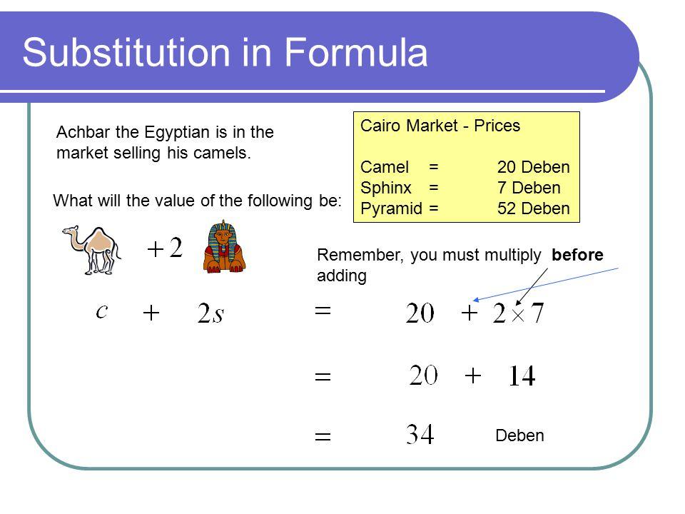 Cairo Market - Prices Camel =20 Deben Sphinx =7 Deben Pyramid =52 Deben How many debens will Achbar have for: Deben