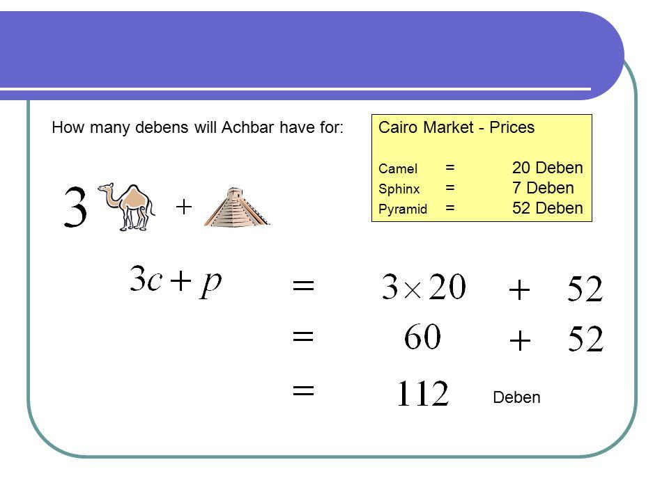 A Different Market Luxor Market - Prices Camel =15 Deben Sphinx =10 Deben Pyramid =45 Deben The prices are different in the market at Luxor What will the value of the following be: Deben