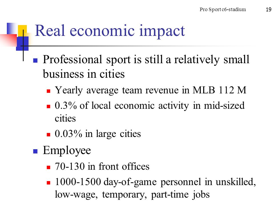 Pro Sport c6-stadium19 Real economic impact Professional sport is still a relatively small business in cities Yearly average team revenue in MLB 112 M 0.3% of local economic activity in mid-sized cities 0.03% in large cities Employee 70-130 in front offices 1000-1500 day-of-game personnel in unskilled, low-wage, temporary, part-time jobs