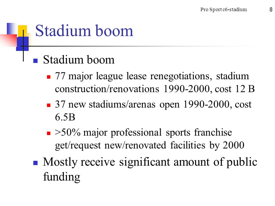 8 Stadium boom 77 major league lease renegotiations, stadium construction/renovations 1990-2000, cost 12 B 37 new stadiums/arenas open 1990-2000, cost 6.5B >50% major professional sports franchise get/request new/renovated facilities by 2000 Mostly receive significant amount of public funding