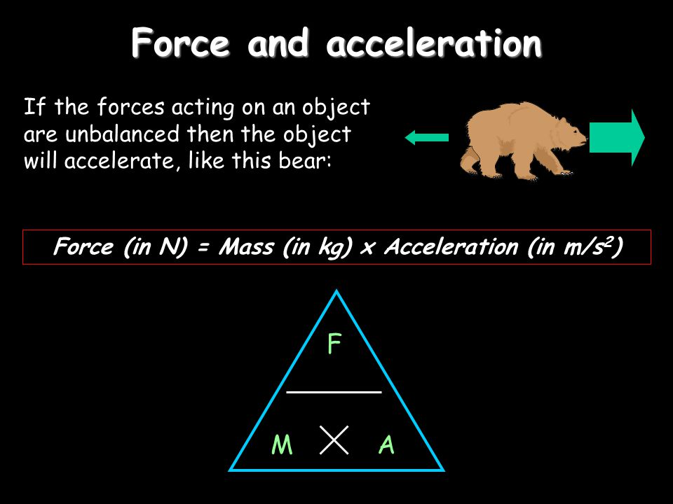 Force and acceleration If the forces acting on an object are unbalanced then the object will accelerate, like this bear: Force (in N) = Mass (in kg) x Acceleration (in m/s 2 ) F AM